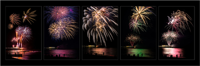 Pentaptych of Worthing Pier Fireworks